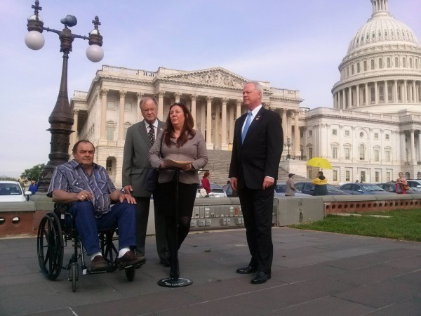Reps. Dana Rohrabacher (R, CA) and Sam Farr (D, CA), pictured with ASA's Steph Sherer and ASA patient-lobbyist of the year, the late Larry Harvey